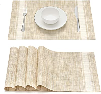 Placemats Set of 4, Smeala Heat Insulation Washable Place Mats, 17.7 x 11.8 inches Durable Non-Slip Kitchen Table Mats Placemat for Dining Table (White)