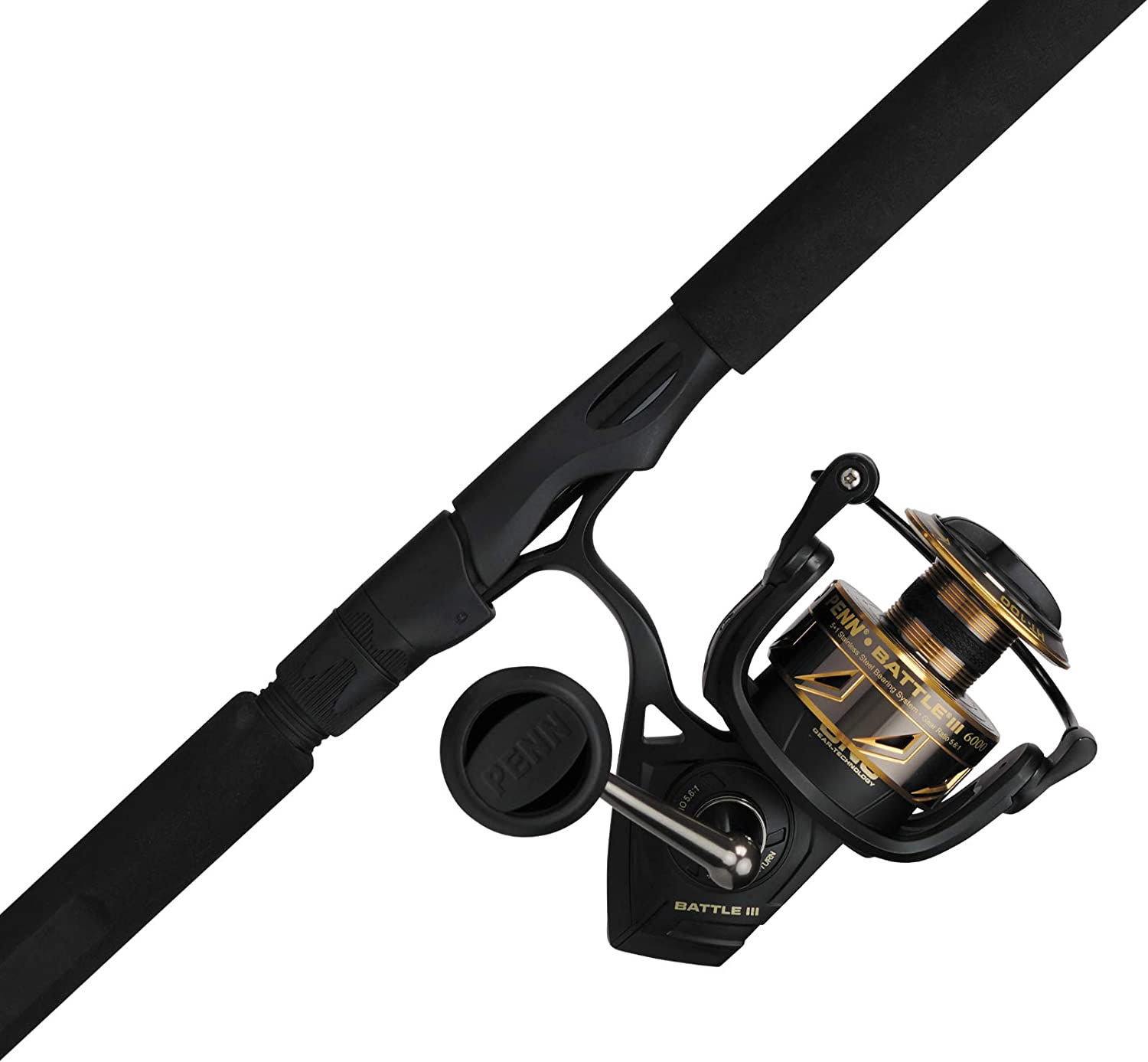 PENN Battle Spinning Reel and Fishing Black Rod Very popular Gold Selling 6000 Combo