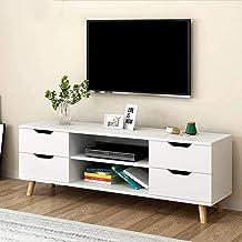 Witte TV Stand Media Console Entertainment Center Multifunctionele TV Opbergkast Media Console met Opbergplank Eenvoudige ...