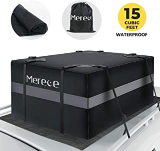 Merece Car Rooftop Cargo Carrier - Car Roof Carriers Waterproof Luggage Carrier for Car Rooftop with Car Luggage Mat Anti-Slip 15 Cubic Feet Car Top Carrier Door Hooks for Vehicle Without Racks