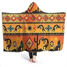 Hooded Throw Blanket Fleece Blanket American Native Pattern Lightweight Faux Fur Wearable Throw Blanket Super Soft Cozy Microfiber Blanket for Adult and Kid