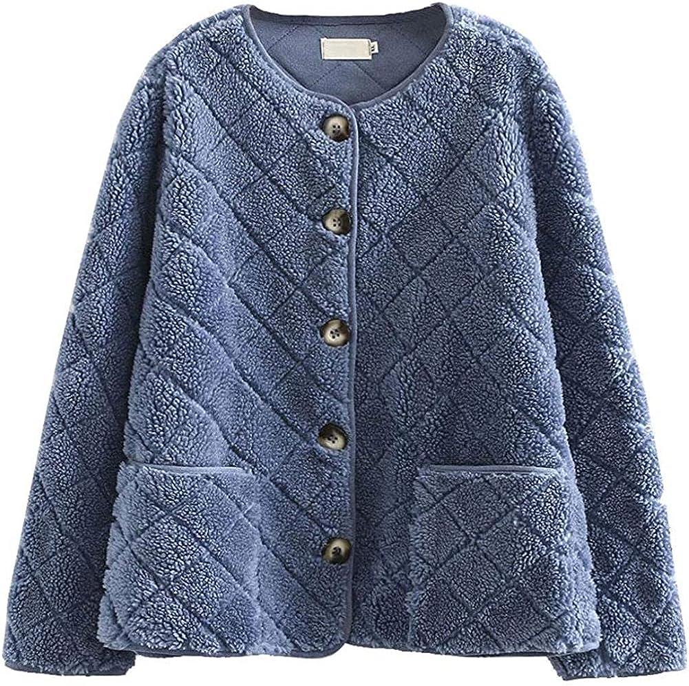 Women's Quilted Stitch Button Up Round Neck Light Warm Sherpa Fleece Jacket