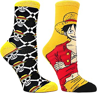 Ripple Junction One Piece Luffy & Skulls 2-Pack Crew Socks