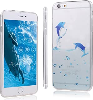 DAMINFE Swimming Dolphin Case For iPhone 5S, Soft TPU Case for iPhone 5, Cute Cartoon Swimming Animal Ocean Dolphin Pattern Clear Flexible Lightweight Slim Soft TPU Case Gel Rubber Soft Skin Silicone Case Cover Scratch Resistant Carrying Protective Case for Apple iPhone 5S iPhone 5 (Fly Dolphin)