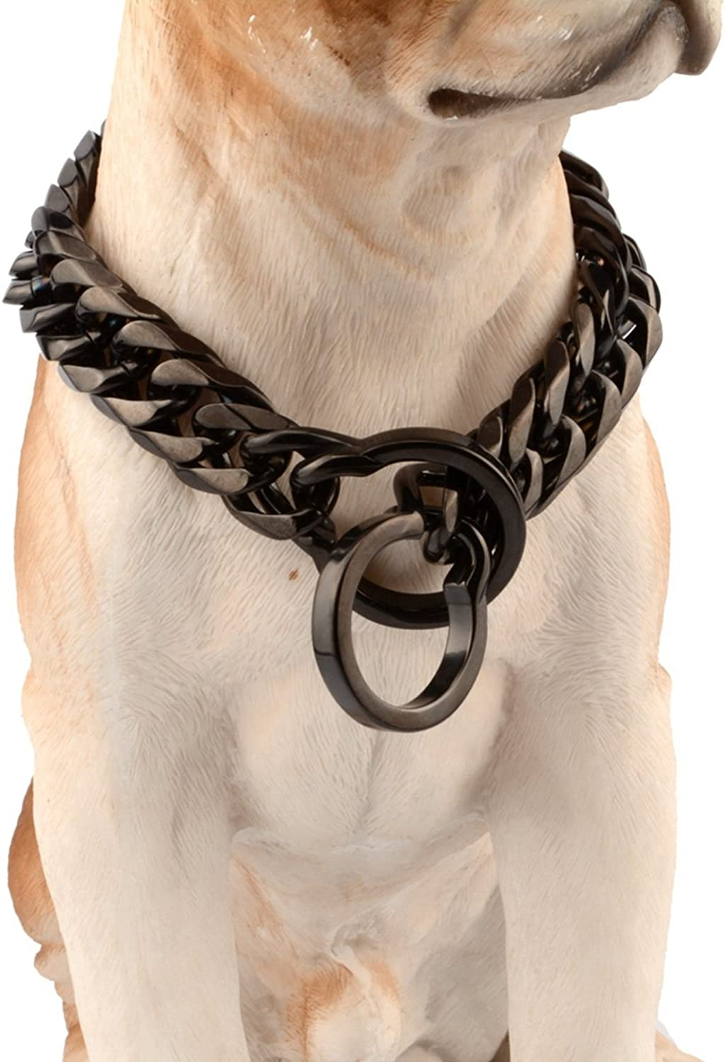Bestss Jewelry Black Solid Stainless Steel Pet Dog Choke Curb Chain Collar for Pit Bull,Bulldog, Big Breeds,16 18mm Wide,1436 Inches (16mm Wide, 22inch Recommend Dog's Neck 18inch)