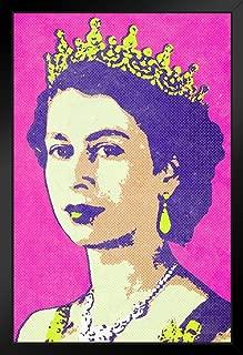 Queen Elizabeth II Portrait Pop Art Print Black Wood Framed Poster 14x20