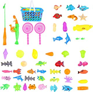 TOYANDONA 50Pcs/ Set Bath Toys Fishing Games, Magnetic Fishing Toys Bathtub Toys, Fishing Floating Squirts Toy Pool Toys f...