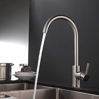 Klassische Küchenarmatur aus Edelstahl, Wasserhahn Küche mit hohem Auslauf 360 °schwenkbar, Spültischarmatur Einhebel Mischbatterie für Küche.