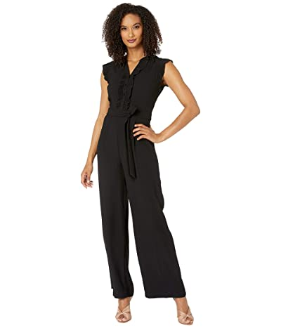 CeCe Sleeveless Jumpsuit with Pleated Trim (Rich Black) Women