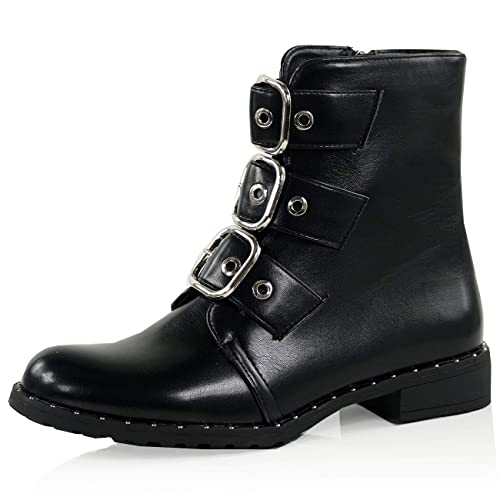 b359d40bc82 CucuFashion Biker Boots Women Ladies Flat Ankle Boots Low Heel Buckles Punk  Gothic Boot Zip Winter