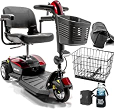 Pride Mobility Go-Go LX with CTS Suspension 3-Wheel Portable Travel Scooter for Adults S50LX, 12AH Battery Pack, Includes Challenger Accessories Bundle