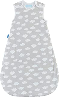 Tommee Tippee Grobag Baby Cotton Sleeping Bag, Sleeping Sack - Light 1.0 Tog for 69-74 Degree F - Fluffy Clouds - Medium Size, 6-18 months, Grey