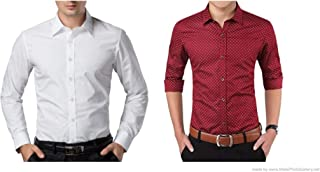 ZAKOD Combo of Plain and Polka Print Cotton Shirts for Men for Formal Use,100% Pure Cotton Shirts,Available Sizes M=38,L=40,XL=42(Pack of 2)