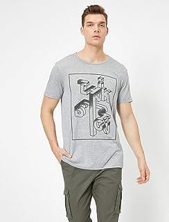 Yazili Baskili T-Shirt Gri L