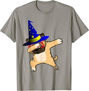 Halloween Dabbing Wizard Pug Puppy Dog Magic Witch Hat Gift T-Shirt