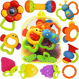 10 قطع من ألعاب راتل الأطفال، ألعاب تسنين الرضع، خشخيشات عضاضة، لعبة أطفال مسننة، مجموعة ألعاب موسيقية، لعبة تعليمية مبكرة...