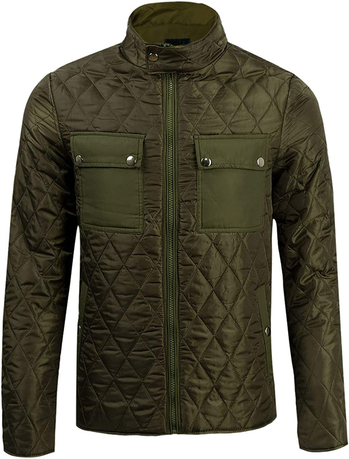 Hiheart Mens Quilted Padded Barn Jacket Stand Collar Windbreaker