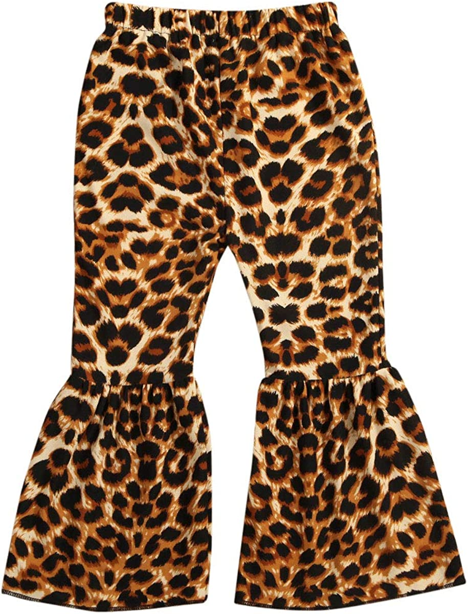 Baby Girls Ruffle Pants Leopard Ela Trousers Plaids Stripe Flare Selling and selling Cheap bargain