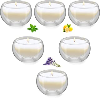 Witcreate Transparent Glass Votive Scented Candle, Lavender Lemon Mint Soy Aromatherapy Candles, 6 Pack Gift Candle Sets
