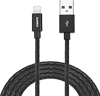 STREETZ 1 m läder USB synkronisering/laddningskabel för iPod/iPhone/iPad – svart