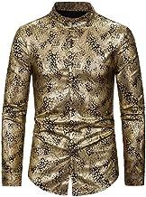 Conversege Men's Casual Turn-Down Collar Long Sleeve Shirt Gentleman Printing Wedding Tops Blouse Clothes