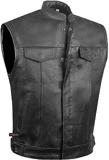 SOA Men's Leather Motorcycle Concealed Gun Pockets Biker Club Vest w/Armor S