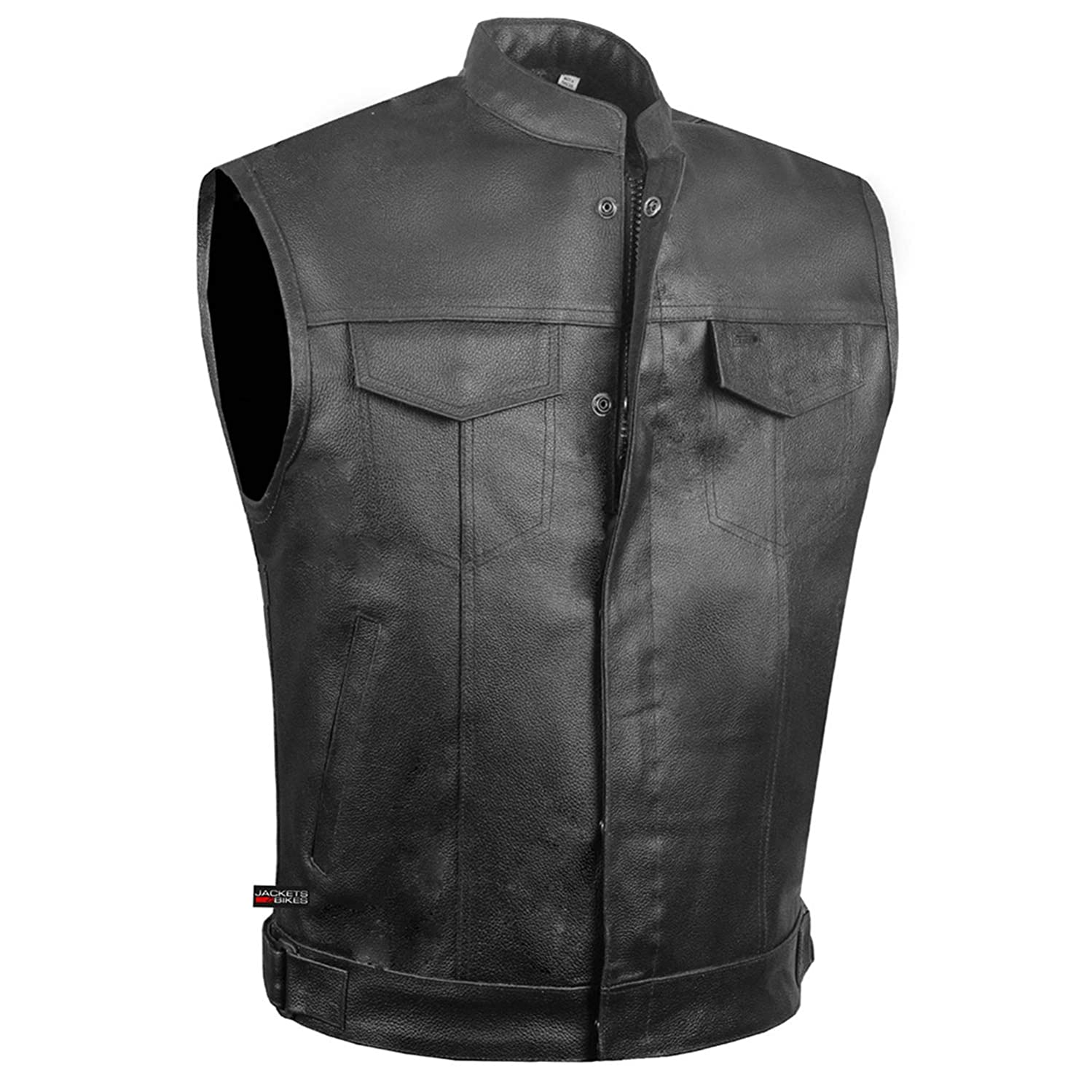 SOA Men's Leather Motorcycle Concealed Gun Pockets Armor Biker Club Vest XL