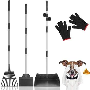 MOICO Dog Pooper Scooper, Extra Large Adjustable Long Handle Pooper Scooper for Large Dogs, Metal Tray, Rake and Spade Poop Scooper Set for Pet Poop Waste Removal
