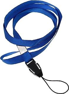 CKB Ltd 500 x Blue Azul Lanyard Acollador ID Correa Cuello Divisa Tarjeta Clave Tenedor Colgante Cuello Cinta Neck Strap For ID Card Cordón del teléfono celular/Access Pass Holder Loop Clip