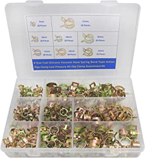 8 Size Spring Band Type Action Fuel/Silicone Vacuum Hose Pipe Clamp Low Pressure Air Clip Clamp Assortment Kit -160Pcs(10 ...