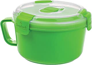 SnapLock by Progressive Noodles To-Go Container - Green, SNL-1004G Easy-To-Open, Leak-Proof Silicone Seal, Snap-Off Lid, Stackable, BPA FREE