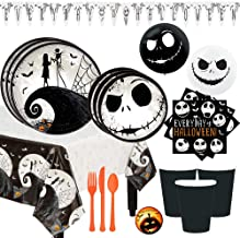 Tim Burton's Nightmare Before Christmas Deluxe Party Supplies Pack For 16 With Dinner and Dessert Plates, Cups, Napkins, Tablecover, Cutlery, Balloons, Banner, and Pin