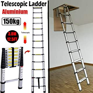 3.8M 12.5FT Aluminum Telescoping Collapsible Roof Climbing Ladder for Home Loft Attic Ladder, EN131