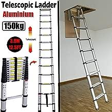 3.8M 12.5FT Aluminum Telescoping Collapsible Roof Climbing Ladder for Home Loft Attic Ladder, EN131