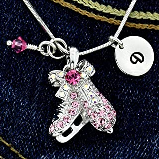 Figure Ice Skates Necklace Personalized Pink Pendant Hand Stamped Initial Letter Charm Sparkling Crystals Birthstone Charm Chain Custom Gift Jewelry