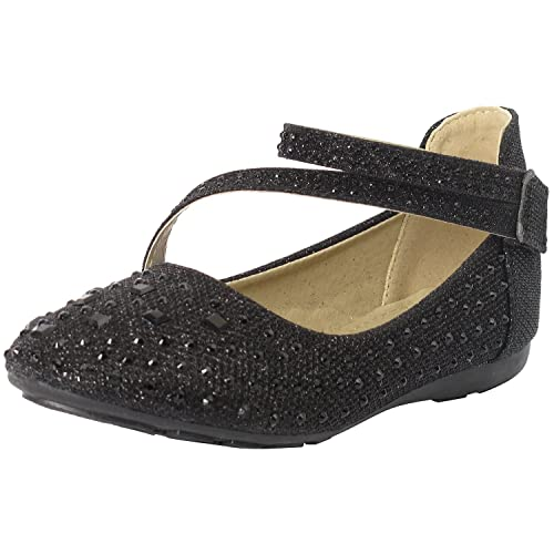 708711a9ffa3 Black Ballerina Flats with Rhinestones  Amazon.com