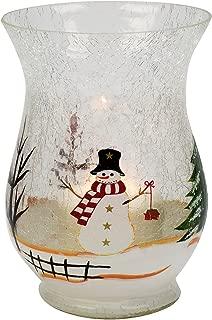 Biedermann & Sons Glass Hurricane Candle Holder, Snowman