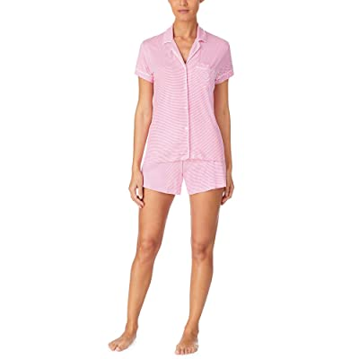 LAUREN Ralph Lauren Short Sleeve Notch Collar Boxer PJ Set (Rose Stripe) Women