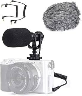 EACHSHOT Video Microphone Mic for Camera Canon, Nikon, Sony A7III A6500 A6400 A6300, Panasonic GH5 GH4, GoPro Mic Adapter, iPhone Vlog Vlogger w/ 3.5mm TRRS TRS Cable [NOT for Rebel T6]