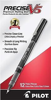 Pilot Precise V5 Stick Liquid Ink Rolling Ball Stick Pens, Extra Fine Point, Black Ink, 12 Count (35334)