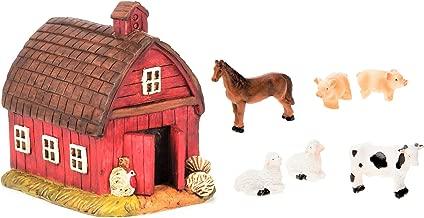 Miniature Fairy Garden Realistic Resin Red Barn House - 3.375
