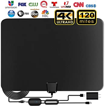 TV Antenna,2020 Indoor Amplified Digital HDTV Antenna 90-120 Miles Range, 4K 1080P HD VHF UHF for Local Free Local HD...