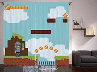 Thermal Insulated Blackout Window Curtain [ Video Games,Arcade World Kids 90s Fun Theme Knight with Sword Fireball Bonus Stars Coins,Multicolor ] for Living Room Bedroom Dorm Room Classroom Kitchen Ca