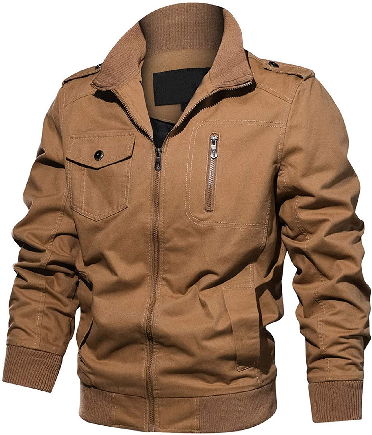 Men's Lightweight Cotton Military Classic Jackets Spring and Autumn Casual Outerwear with Pockets Vintage Coat