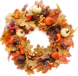 Bigens Christmas Wreath,20 inch Artificial Fall Wreath Fall Maple Leaves,Pumpkins with Berries