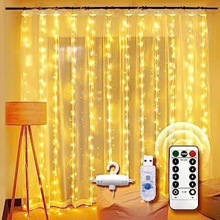 Guirlande Lumineuse Rideau, UNBON 3M*3M Rideau Lumineux 300 LED 8 Modes d'Éclairage Rideau de Lumière USB Blanc Chaud pour...