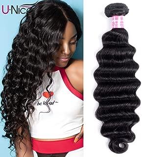 UNice Hair Brazilian Loose Deep Wave Hair 1 Bundle, Unprocessed Human Virgin Hair Weave Extensions Natural Color (16 inch)