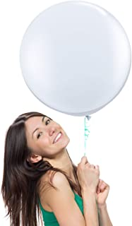 18 Inch (1.5 ft) Giant Jumbo Latex Balloons (Premium Helium Quality), Pack of 6, Round Shape - White, for Photo Shoot/Birthday/Wedding Party/Festival/Event/Carnival