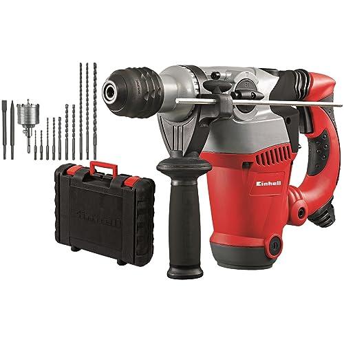 Einhell RT-RH 32 Kit - Pack con martillo perforador eléctrico, anti vibración, 12 accesorios y maletín, cabezal SDS-plus, 3.5 J, 1250 W, 230 V, color rojo/negro/gris (ref. 4258485)