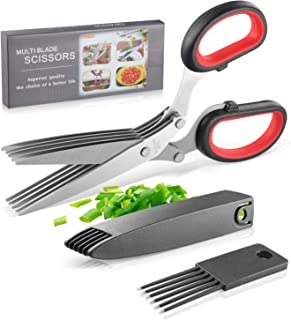 Joyoldelf Gourmet Herb Scissors Set - Master Culinary Multipurpose Cutting Shears with Stainless Steel 5 Blades, Stripping...